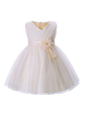 Beige Flower Girl Dress