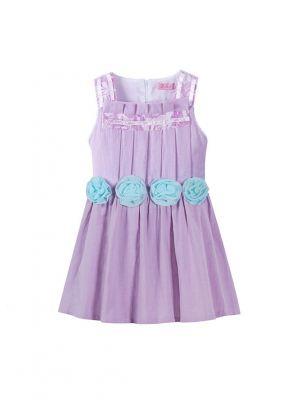 Elegant Sleeveless Lavender Floral Girl Dress