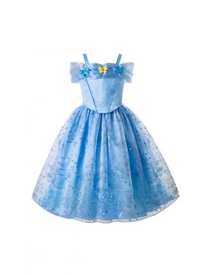 Fancy Blue Cinderella Sequined Princess Dress