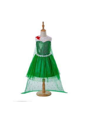 Green Dress With Tulle Cloak