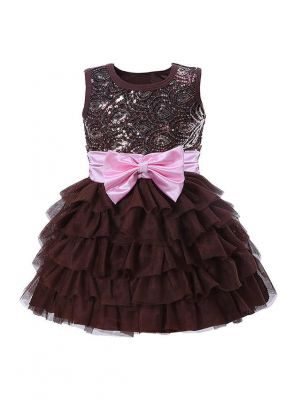 Coffee Sequin Girl Party Dress With Pink Bow
