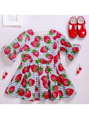 Sweet Kids Dress Girls With Strawberry Printed