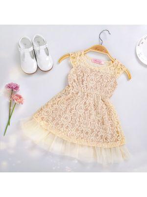 Lace Beige Flower Girls Party Dress
