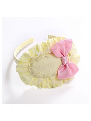 Light Yellow Headband with Pink Bow