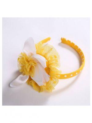 Yellow Flower White Dots Headband