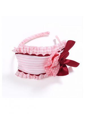 Red Bow White Dots Pink Headband