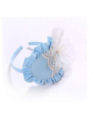 White Chiffon Bow Blue Headband