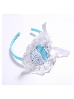 White Lace & Bow Blue Headband