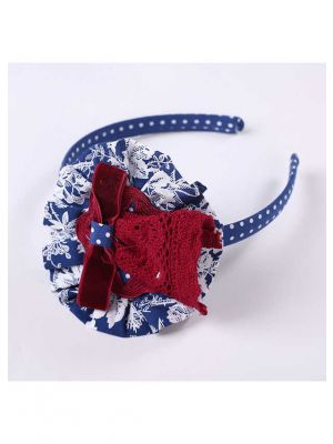 White Printed Red Lace Bow Blue Headband