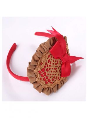 Little Girls Red Headband with Bow