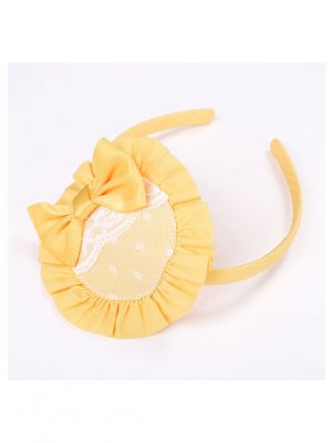 Yellow Flower Headband with Bow and White Lace