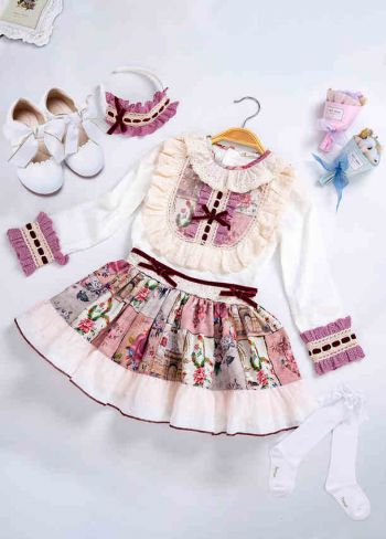 5 pcs Matching Sets - Blouse + Skirt + Headband + Shoes + Socks