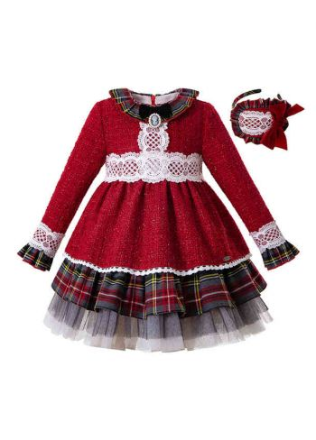 (Pre-sale products) 2019 Bling Christmas Party Bow Boutique Autumn Girls Dress + Hand Headband