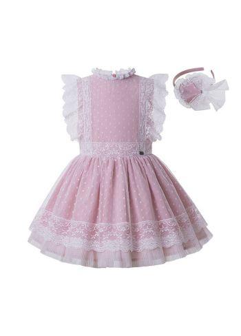 Sweet Summer Princess Yarn Dyed Pleated Boutique Girls Dress + Hand Headband