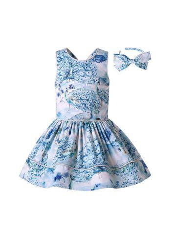 Blue Peacock Patterns Sleeveless Girls Dress + Handmade Headband