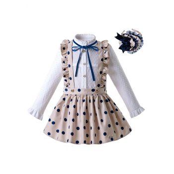 (ONLY 5Y Left) Girls Long Sleeve White Blouse With Blue Dot Khaki Skirt