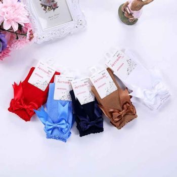 Girls White Socks With Handmade Bow-knot