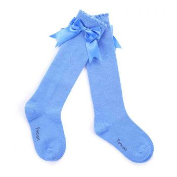 Girls Blue Socks With Handmade Bow-knot