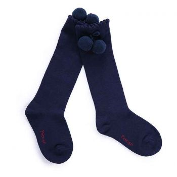 Girls Navy Blue Pom Pom Socks