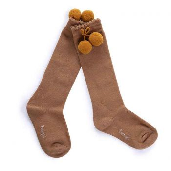 Girls Camel Pom Pom Socks