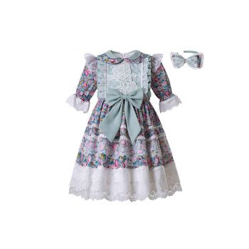Wedding Party Flower Printed Rose Embroidery Lace Girl Long Dress With Headband
