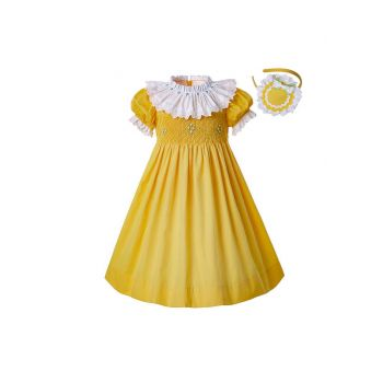 Easter Princess Printed Summer Yellow Doll Collar Smocked Party Girls Dress + Handmade Headband