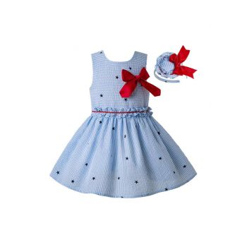 2020 Light Blue Girls Ruffles England Style With Red Bow Layered Dress + Hand Headband