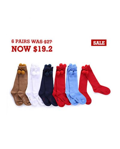 6 Pairs Girls Keen-length Pom Pom Socks