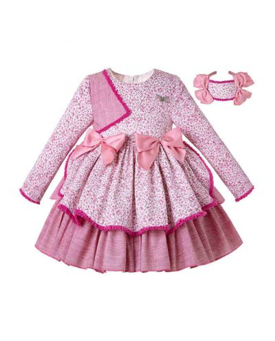 Thanksgiving Pink Floral Bow Children Boutique Girl Dress + Hand Headband