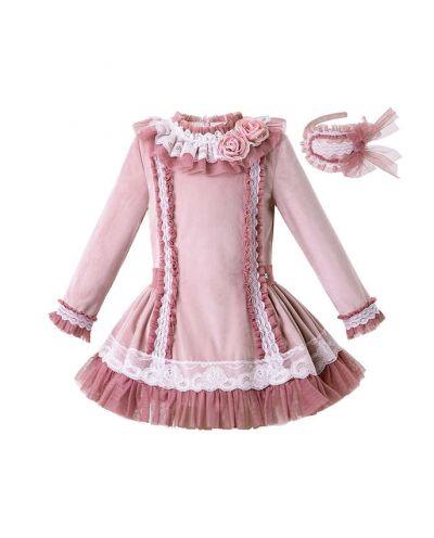 Lace Knitted Velour Fabric Pink Roses Girls Autumn Dress + Handmade Headband