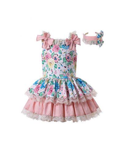 Sweet Summer Princess Lace Flower-printed Bows Princess Dress + Hand Headband