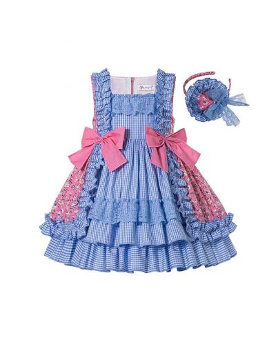 Summer Boutique Square Collar Blue Plaid Princess Girls Ruffle Dress With Bows + Hand Headband