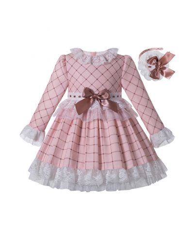 (Pre-sale Products) Macaron Pink Check Sweet Layered Girls Lace Boutique Autumn Dress + Handmade Headband