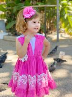 Newest Pink Lace Sleeveless Flower Dress