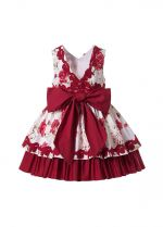 Boutique Summer Rose Flower Pattern Girls Princess Ruffle Dress + Hand Headband