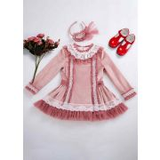 Lace Knitted Velour Fabric Pink Roses Girls Autumn Dress + Handmade Headband