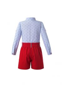 Boys Summer Kids Clothing Outfit Light Blue Character Shirt + Red Shorts