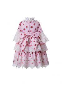Spring Pink Vintage Boutique Girls Pattern Layered Ruffles Dress + Hand Headband