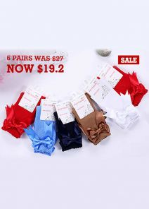 6 Pairs Bow-knot Keen-length Girls Socks