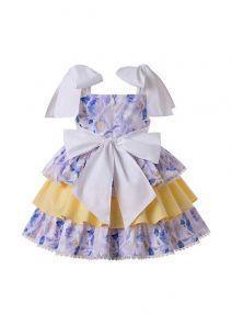2020 Girls Flowers England Style Layered Party Dress + Hand Headband