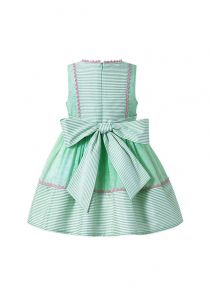 Girls Green Striped Plain Dyed Preppy Style Summer Boutique Dress With Bows + Hand Headband