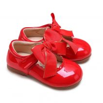 Red Microfiber Leather Girls Shoes With Handmade Bow-knot