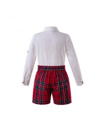 2019 Red Christmas Boys Button Clothing Sets Embroidery White Shirt +  Red Grid Shorts