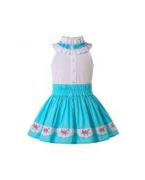 Classical Girls Outfits Irregular Collar White Shirt and Blue Print Skirt + Headband