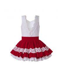 2020 Summer Girls Clothing Set Red Lace Shirt + Red Princess Skirt +Hand Headband