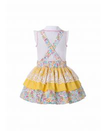 2020 Easter Ruffled Lace Flower Print Boutique Dress + Hand Headband