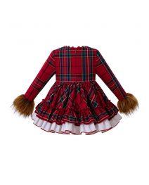3 Pieces Christmas Babies Faux Fur Sleeve Vintage Vestidos Plaid Elegant Princess Dress + Bloomers + Hat
