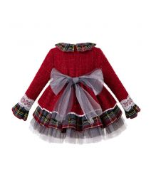 3 Pieces Babies Bling Christmas Boutique Layered Lace Dress + Bloomers + Hat