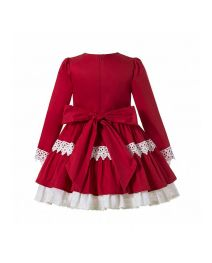 (Pre-sale Products) 2020 Sweet Autumn Princess Red Layered Ruched Girls Boutique Dress + Handmade Headband