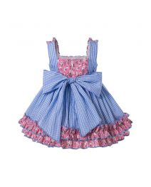 3 Pieces Babies Princess Flowers Print Sweet Plaid Bows Layer Outfit + Cute Bloomers + Hat